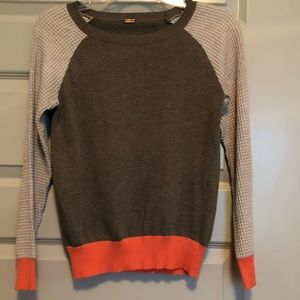 Sweaters - Coral, Grey, and Tan Knit Sweater- Size XS